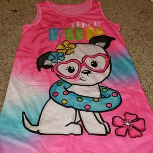 Girl's Pajama Dress w/Dog Graphic EUC